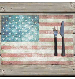 Harman Vinyl Placemat 13x19 Inch American Flag Stars and Stripes