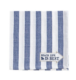 Harman Cotton Napkins Set of 4 18x18 Stripe w Beach Life is Best
