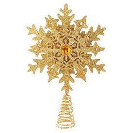 Kurt Adler Glittered Snowflake Christmas Tree Topper 11 Inch GOLD