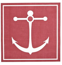 Harman Vinyl Placemat 14x14 Inch Square Anchor w Red