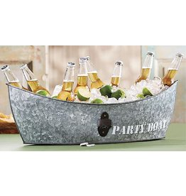 Mud Pie Tin Party Boat Tub With Bottle Opener 28x8.5