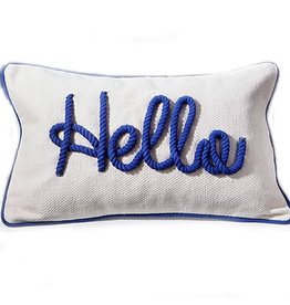 Twos Company Nautical Coastal Pillow w Rope Embroidered Hello by Twos Company
