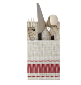 Harman Bistro Cutlery Holders Set of 2 Vinyl 4x7 Red Stripes
