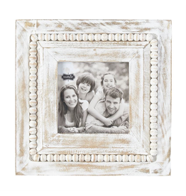 Mud Pie White Washed Wood Beaded Frame 10x10 Square