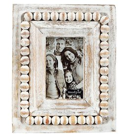 Mud Pie White Washed Beaded Frame 6.25x5 Inch Rectangle