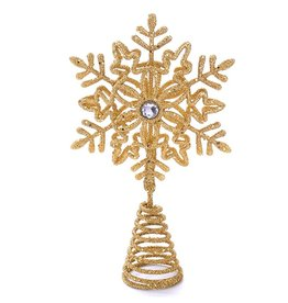 Kurt Adler Glittered Snowflake Christmas Tree Topper 5 Inch GOLD