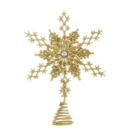 Kurt Adler Glittered Star Snowflake Christmas Tree Topper 8 Inch GOLD