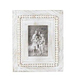 Mud Pie White Washed Wood Beaded Frame 11x9 Rectangle