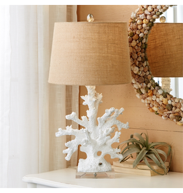 Twos Company White Coral Base Table Lamp w Burlap Shade 27.5H