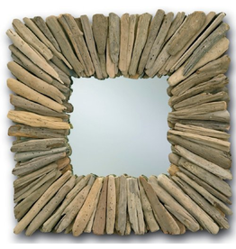 Currey and Company Square Driftwood Wall Mirror 21x21