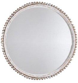 Mud Pie Round White Washed Beaded Mirror 12 Inch