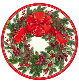 Caspari Christmas Paper Salad-Dessert Plates Evergreen Wreath 8pk