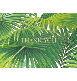 Caspari Thank You Note Cards Boxed Set of 6 Palm Fronds Foil