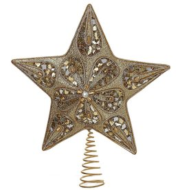 Kurt Adler Silver And Gold Star Christmas Treetop Tree Topper 14 Inch