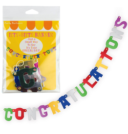 Party Partners Itty Bitty Banner Congratulations 20 inch Jointed by Party Partners