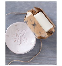 Mud Pie Sand Dollar Soap Dish Set With Sandlewood Scented Soap