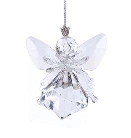 Kurt Adler Clear Acrylic Angel Ornament Tear Drop Shape 3 Inch
