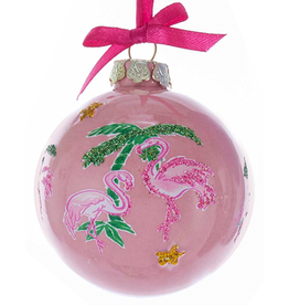 Kurt Adler Porcelain Flamingo Palm Trees Ornament Ball Shape