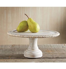 Mud Pie White Washed Beaded Cake Stand 6x12 Detachable Base