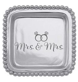 Mariposa Engraved Sentiment Tray Lesbian Wedding Gift Mrs and Mrs