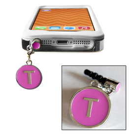 TECH Candy Phone Charms Earphone Jack Jewelry Letter T Silver Pink