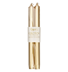 Caspari Crown Candles Tapers 10 inch 2pk Metallic Gold