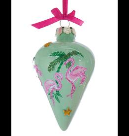 Kurt Adler Porcelain Flamingo Palm Trees Ornament Finial Shape