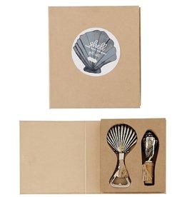 Mud Pie Wine Bottle Stopper Beer Bottle Opener Gift Set Fanshell Conch