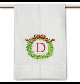 Peking Handicraft Monogramed Christmas Wreath Guest Towel Embroidered Letter D