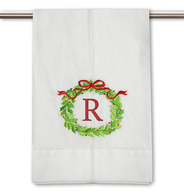 Peking Handicraft Monogramed Christmas Wreath Guest Towel Embroidered Letter R