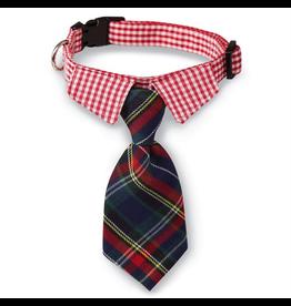 Mud Pie Plaid Tie Dog Collars-Necktie-Sm-Md Adjustable Snap Buckle