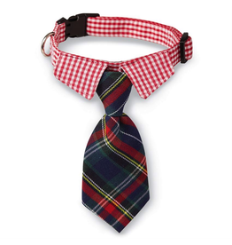 Mud Pie Plaid Tie Dog Collars-Necktie-Md-Lg Adjustable Snap Buckle