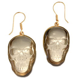 Alchemia Clear Quartz Skull Earrings Dangle