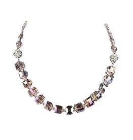 Jacqueline Kent Jewelry Iridescent Pink Crystal Cube Necklace Braclet Ankle Bracelet