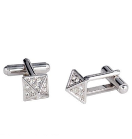 Annaleece Cuff Links Apex Silver w Crystals by Annaleece Mens Collection
