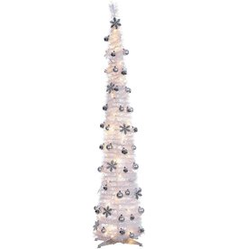 Sterling® Trees Pop Up Decorated Tree 6 FT White W Silver Ornaments