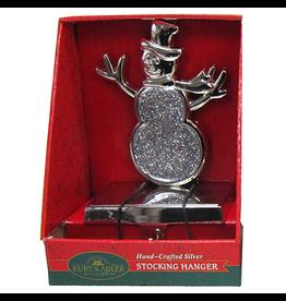 Kurt Adler Christmas Stocking Holder Silver Metal Hanger w Snowman
