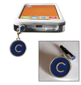 TECH Candy Phone Charms Earphone Jack Jewelry Initial C Silver Blue
