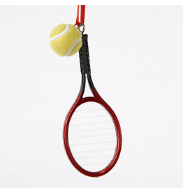 Kurt Adler Tennis Racket With Tennis Ball Christmas Ornament 4 inch