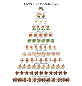 Peking Handicraft Holiday Flour Sack Kitchen Tea Towel A Beer Lovers Christmas 12 Days