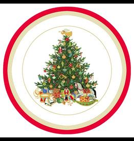 Caspari Christmas Paper Dinner Plates 8pk Round Oh Christmas Tree Ivory