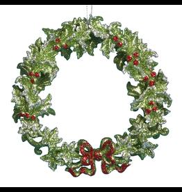 Kurt Adler Green Holly Wreath Christmas Tree Ornament 5 inch