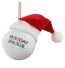 Kurt Adler Ornament Golf Ball w Santa Hat Holiday Hacker