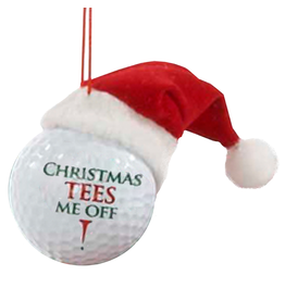 Kurt Adler Ornament Golf Ball w Santa Hat Christmas Tees Me Off