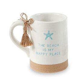 Mud Pie Sea Coffee Mugs 16oz The Beach Is My Happy Place