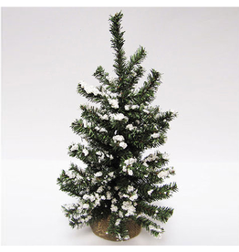 Darice Mini Christmas Tree Snow Glittered w Burlap Base 18 inch