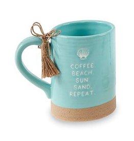 Mud Pie Sea Coffee Mugs 16oz Coffee Beach Sun Sand Repeat