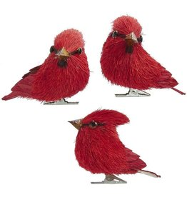 Kurt Adler Red Cardinal Sisal Birds With Clip Ornaments 3 Inch SET of 3