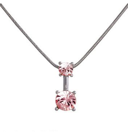 Annaleece Necklace Sweet Light Rose Rhodium Pendant with Crystals