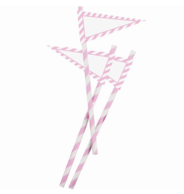 Party Partners Party Straws w Banners 12Pk Pink and White by Party Partners